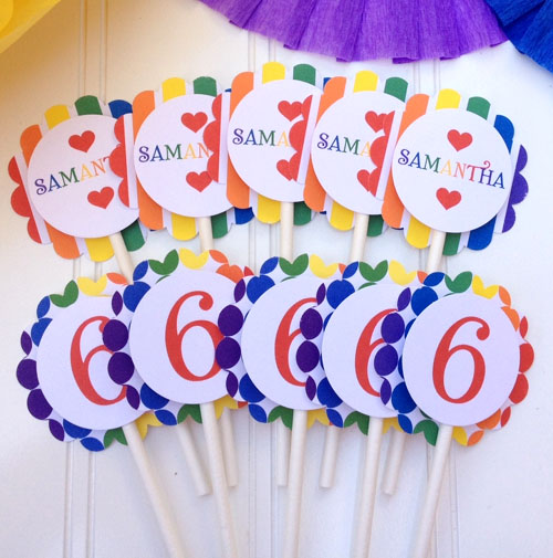 """Over the Rainbow"" Cupcake Toppers"